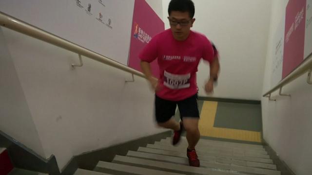 Vertical Runners Scale Chinese Skyscraper