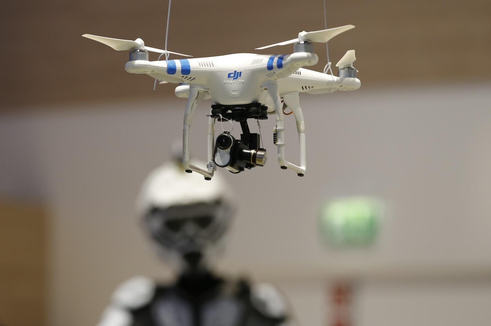 A quadcopter armed with a Sony Action Cam Mini on show at IFA in Berlin last month