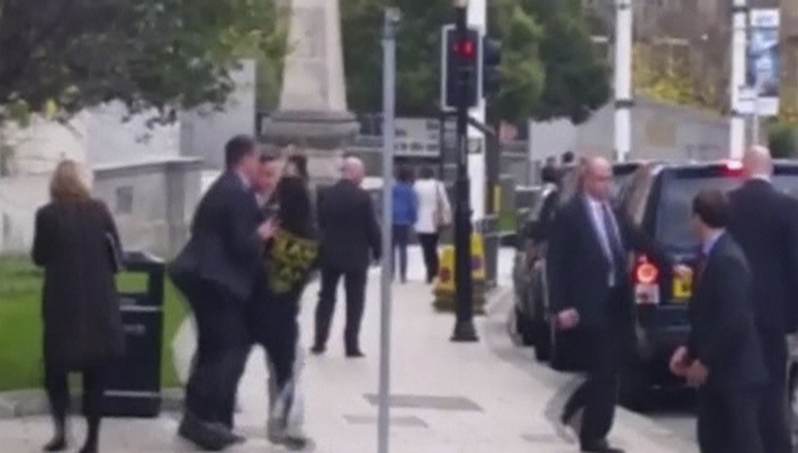 Footage of Cameron 'Shoved' by Member of Public in Leeds