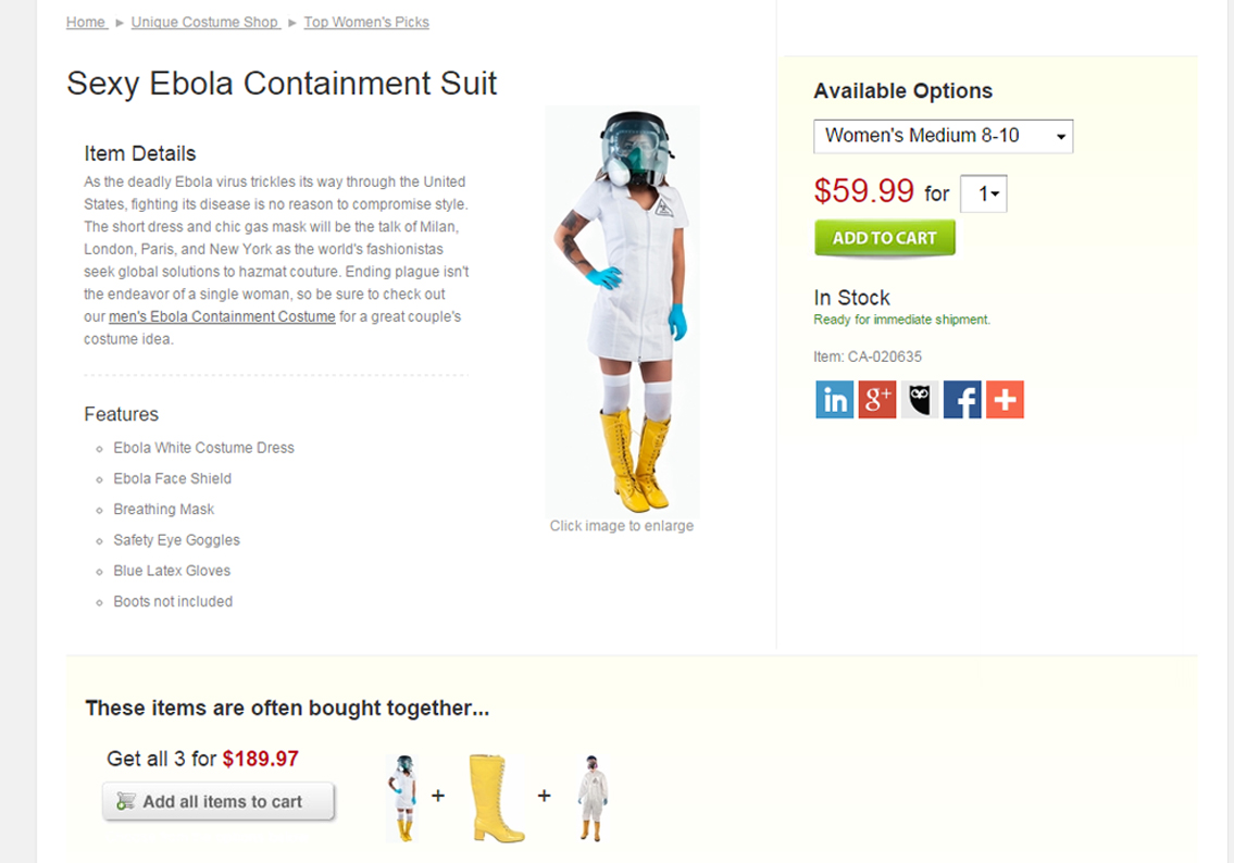 A sexy Ebola nurse containment suit costume is currently being sold on brandsforsale.com