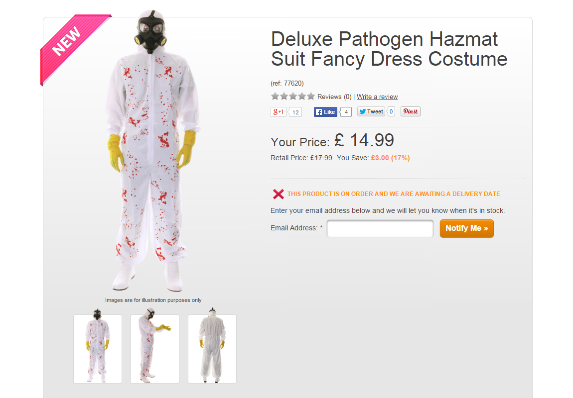 The deluxe pathogen hazmat suit costume would make a good match with the sexy Ebola nurse