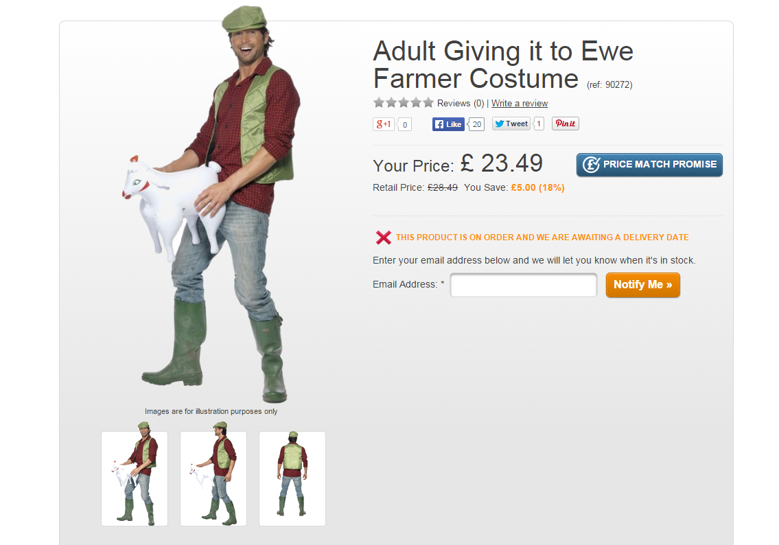 A farmer who is very fond of his sheep costume