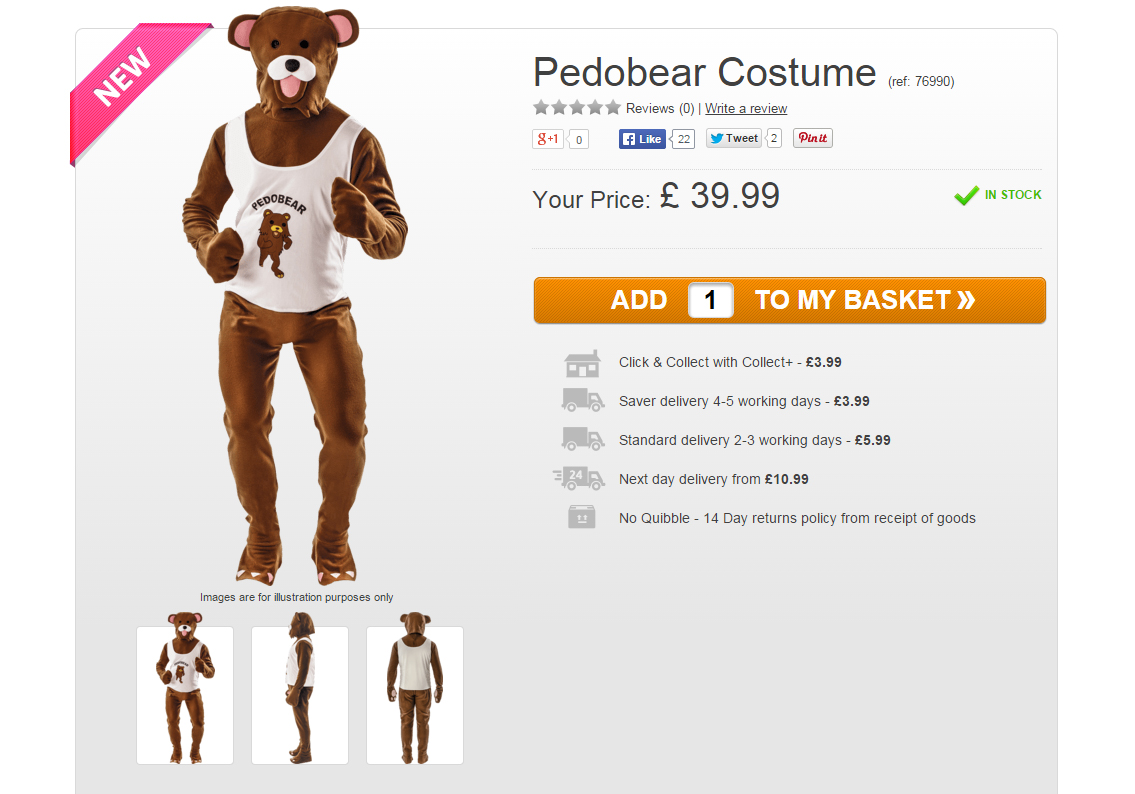 Pedobear costume