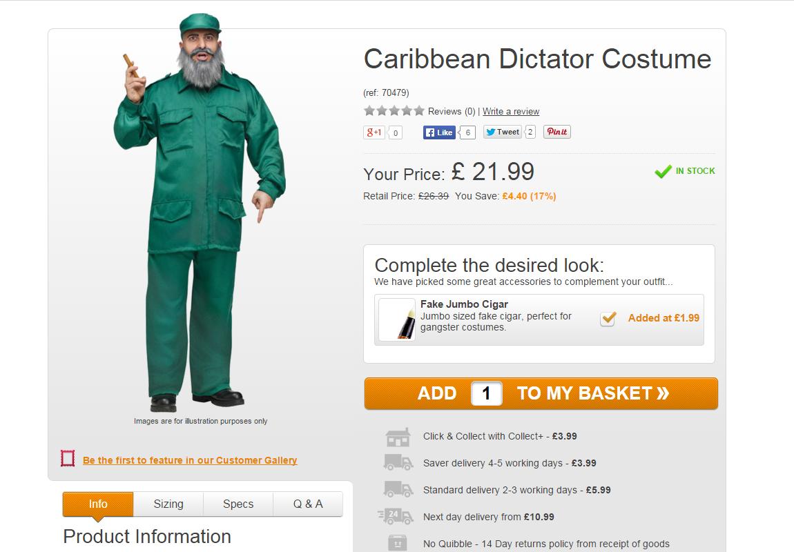 Caribbean Dictator costume