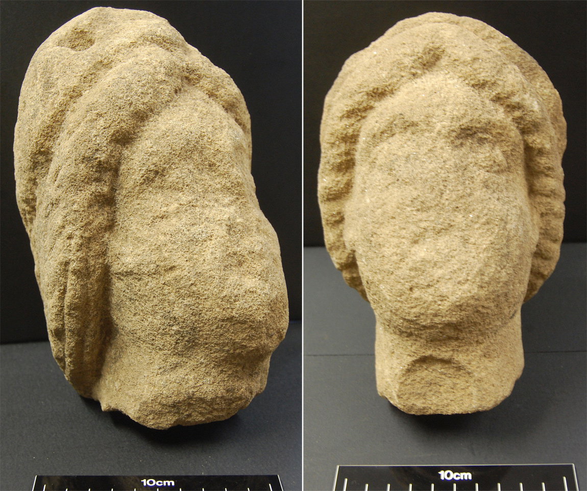 A pair of heads belonging to Roman statues that were found in the Derventio settlement remains
