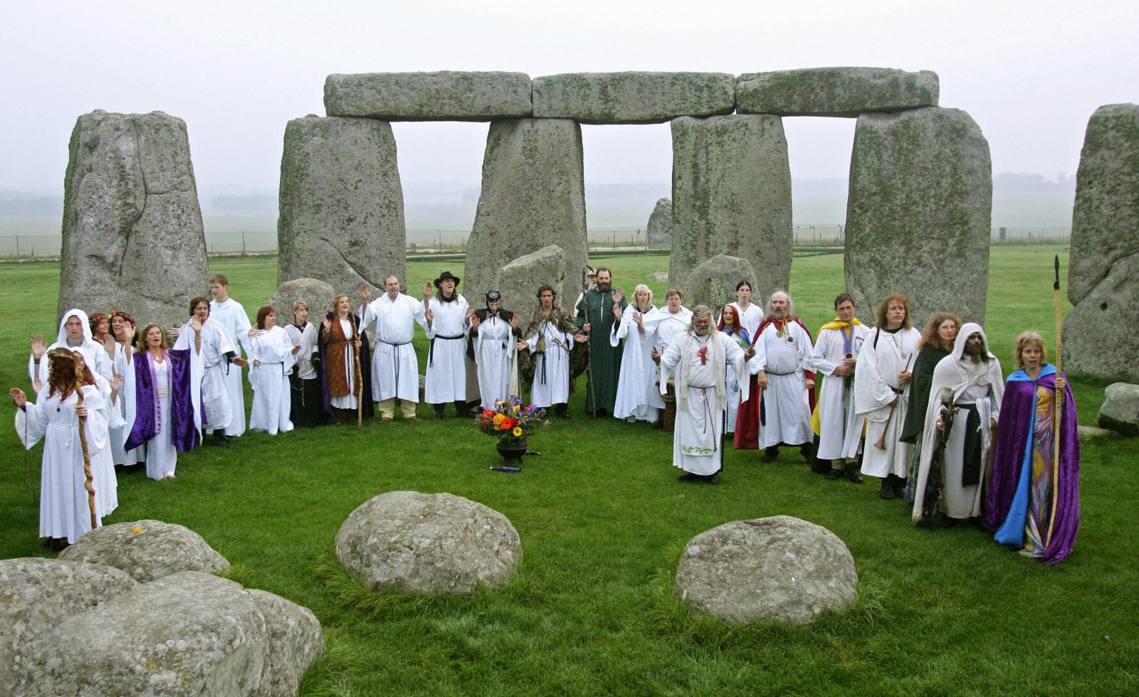 Druids perfoming a pagan Samhain blessing ceremony at Stonehenge during the month of October