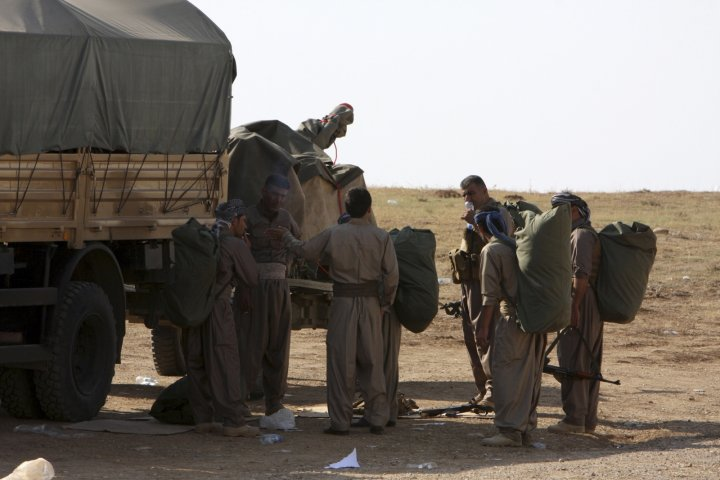 Kurdish Peshmerga forces in Kobani