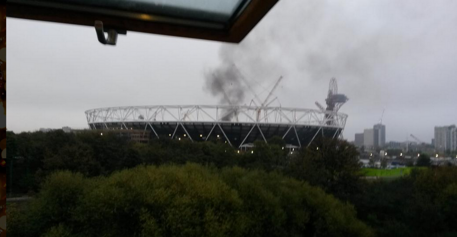 Fire at Olympic Stadium London