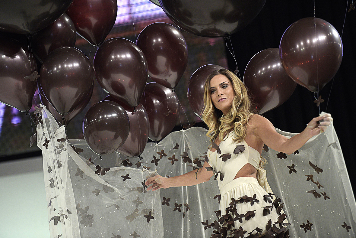 Clara Morgane wears a chocolate dress made by designer Fanny Liautard and chocolate maker Henry Le Roux