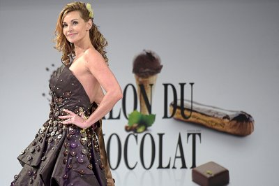French actress Ingrid Chauvin  wears a chocolate dress made by designer Florencia Soerensen and chocolate brand Maison Bernachon