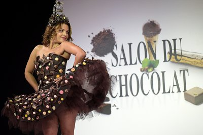 French singer Severine Ferrer walks the runway in a chocolate dress made by stylist Manon Bresson-Cancel and chocolate makers Jean-Marc Rue and Keiko Rihara