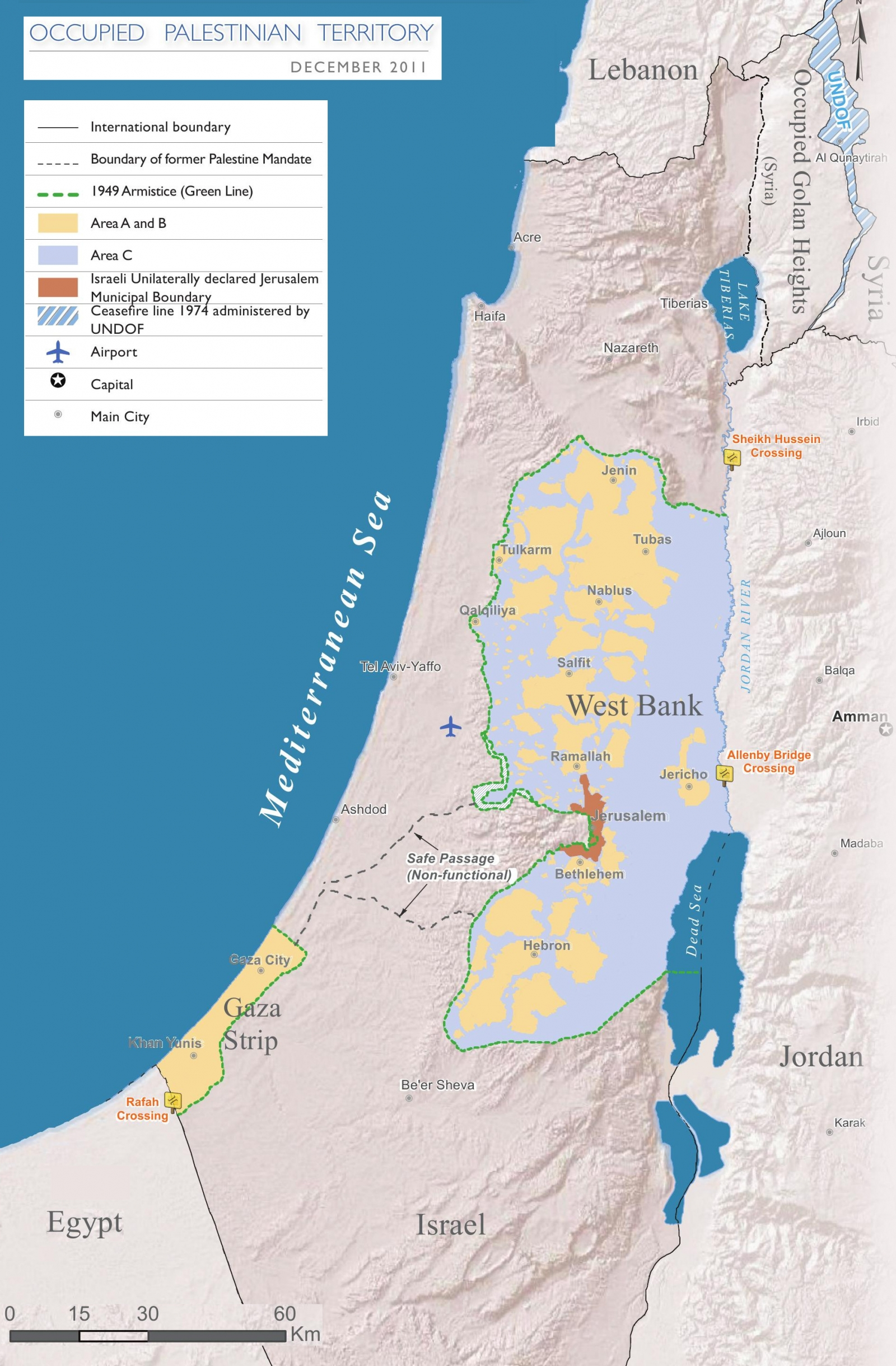 Occupied Palestinian Territories map (2011)