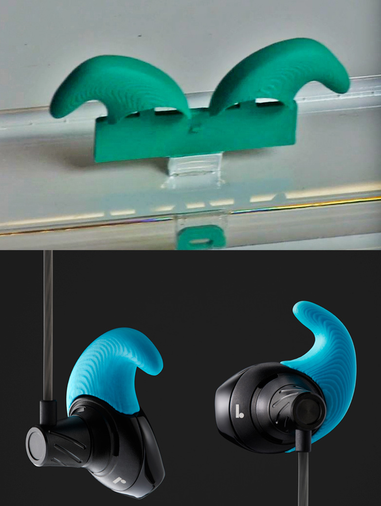 Ear pieces fresh from being 3D-printed to being fitted onto earphones