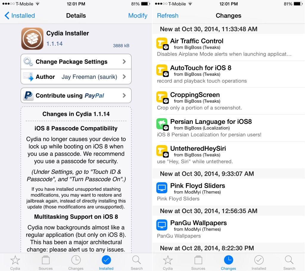 iOS 8.0/8.1 Untethered Jailbreak: Saurik Releases New Cydia Installer with Fixes for Passcode Issue, Multitasking, iPhone 6 Support and More