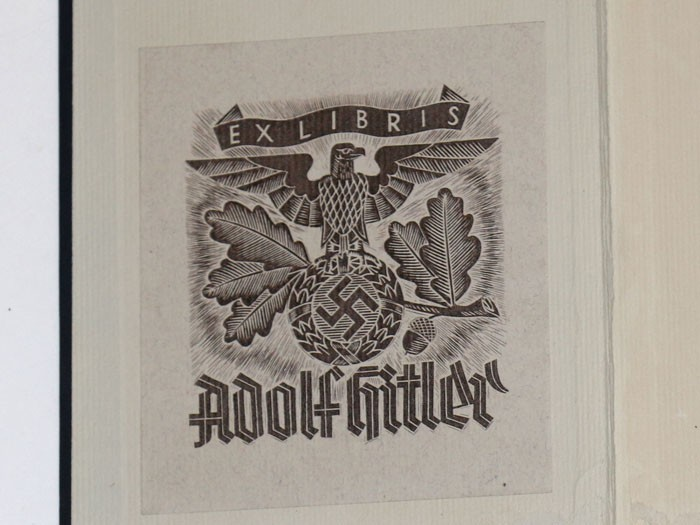 Ex Libris library plate on the inside cover of Hitler's personal copy of Mein Kampf. (History Hunter)