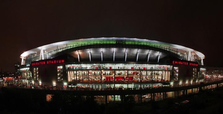 Arsenal Emirates stadium at night