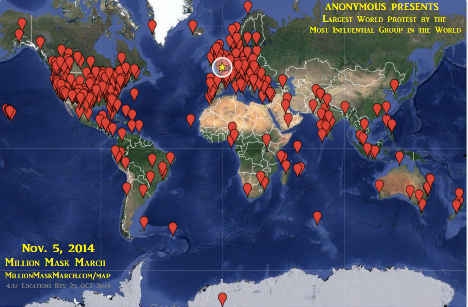 Anonymous 'Million Mask March' Taking Place in 463 Locations Around the World on 5 November