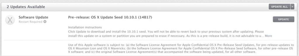 OS X 10.10.1 Yosemite Beta 1