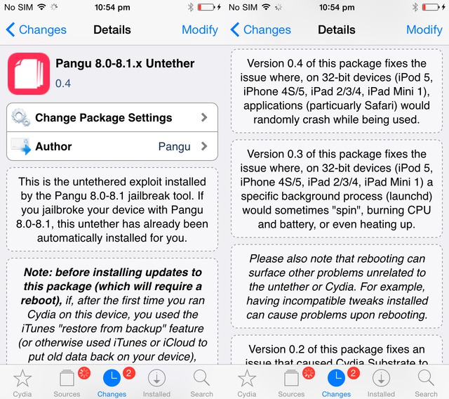 iOS 8/8.1 Untethered Jailbreak: Pangu Untether 0.4 Released to Fix Random App Crashes on 32-bit Devices