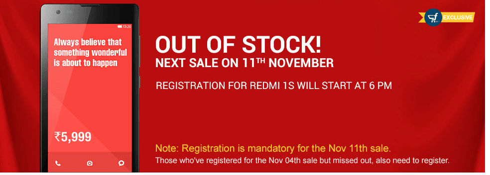 Xiaomi to Conduct 'Extra' Round Flash Sale on 11 November: Register Now On Flipkart to buy Redmi 1S in India