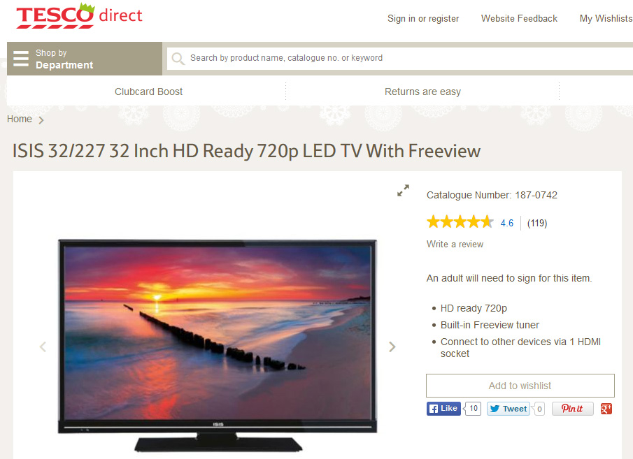 A 32 Inch Television Available On The Tesco Direct Site Tesco