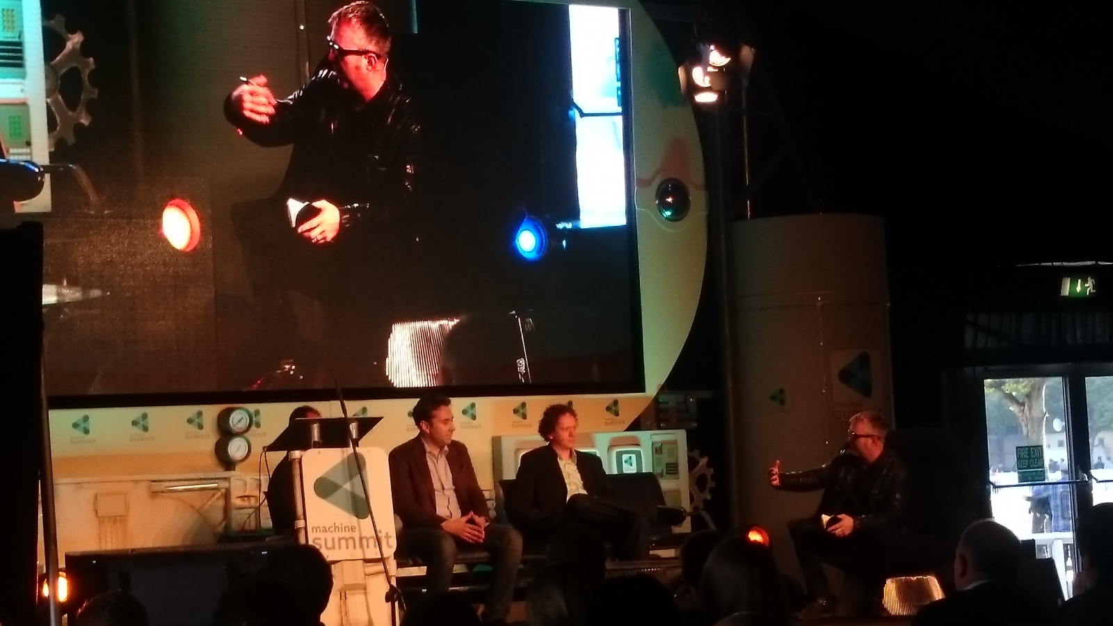 Christian Sanz (Skycatch- obscured), Jay Bregman (3D Robotics), Jonathan Downey (Airwave) & panel chair Mike Butcher (TechCrunch