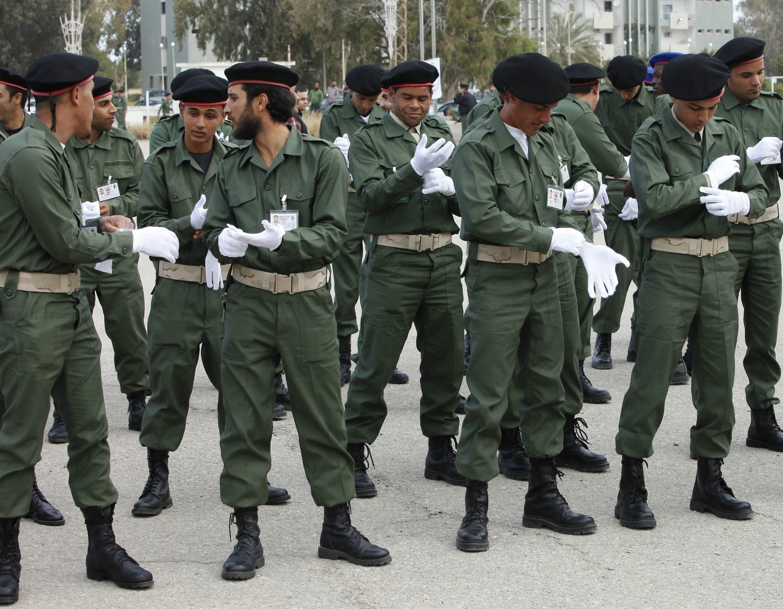 Cadets prepare for a Libyan Army graduation ceremony in Tripoli