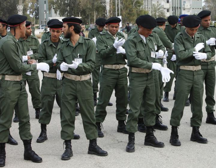 Cadets prepare for a Libyan Army graduation ceremony in Tripoli