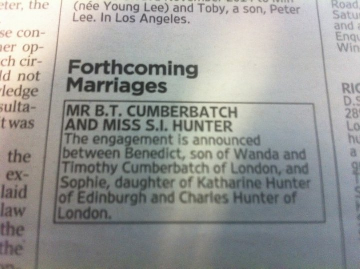 Benedict Cumberbatch engagement in The Times