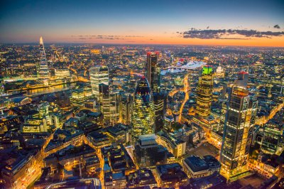 Jason Hawkes The cluster of new skyscrapers in the City of London