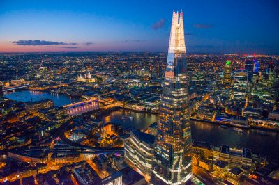Jason hawkes Shard at night looking north over River Thames to City of London