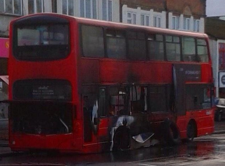 Red bus ravaged by fire in south London street in frightening incident