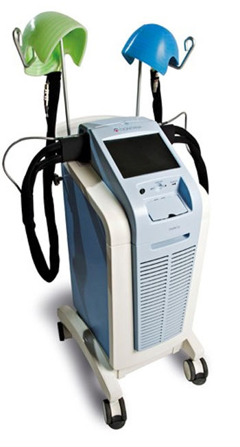 The Dignicap system, featuring a cooling cap hooked up to a system that maintains cold temperatures throughout the chemotherapy treatment