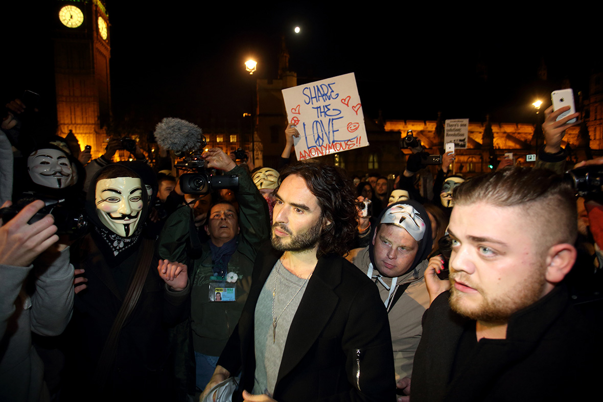 million mask march Russell Brand