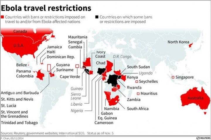 Map highlighting countries with travel bans or restrictions to and/or from countries affected by Ebola