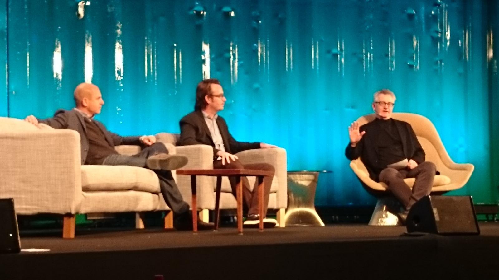 Brent Weinstein (United Talent Agency), Tom Ryan (Pluto TV), Russ Mitchell (LA Times).