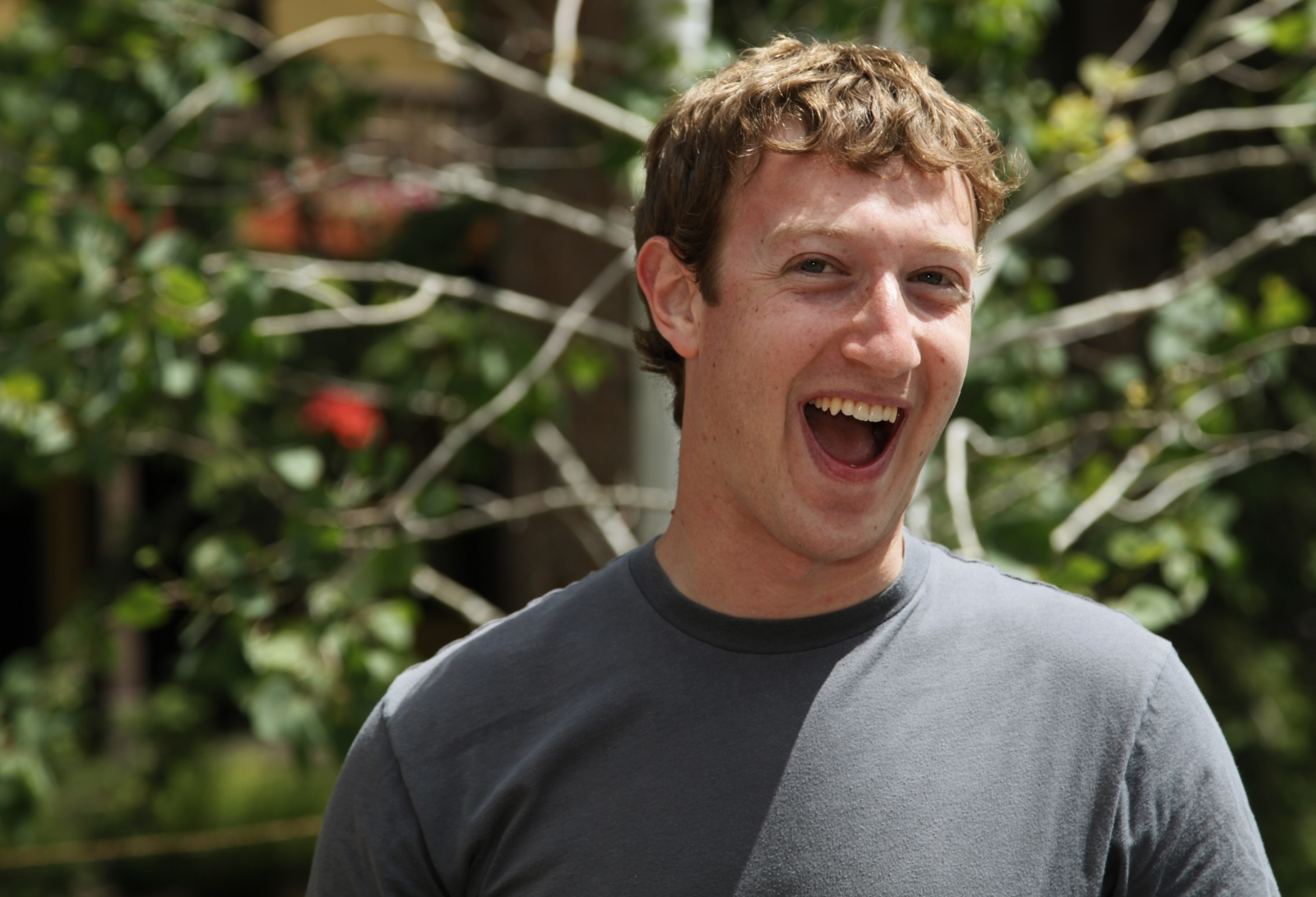 Facebook CEO Mark Zuckerberg in a grey t shirt