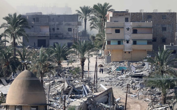 Houses blown up during a military operation by Egyptian security forces in the city of Rafah