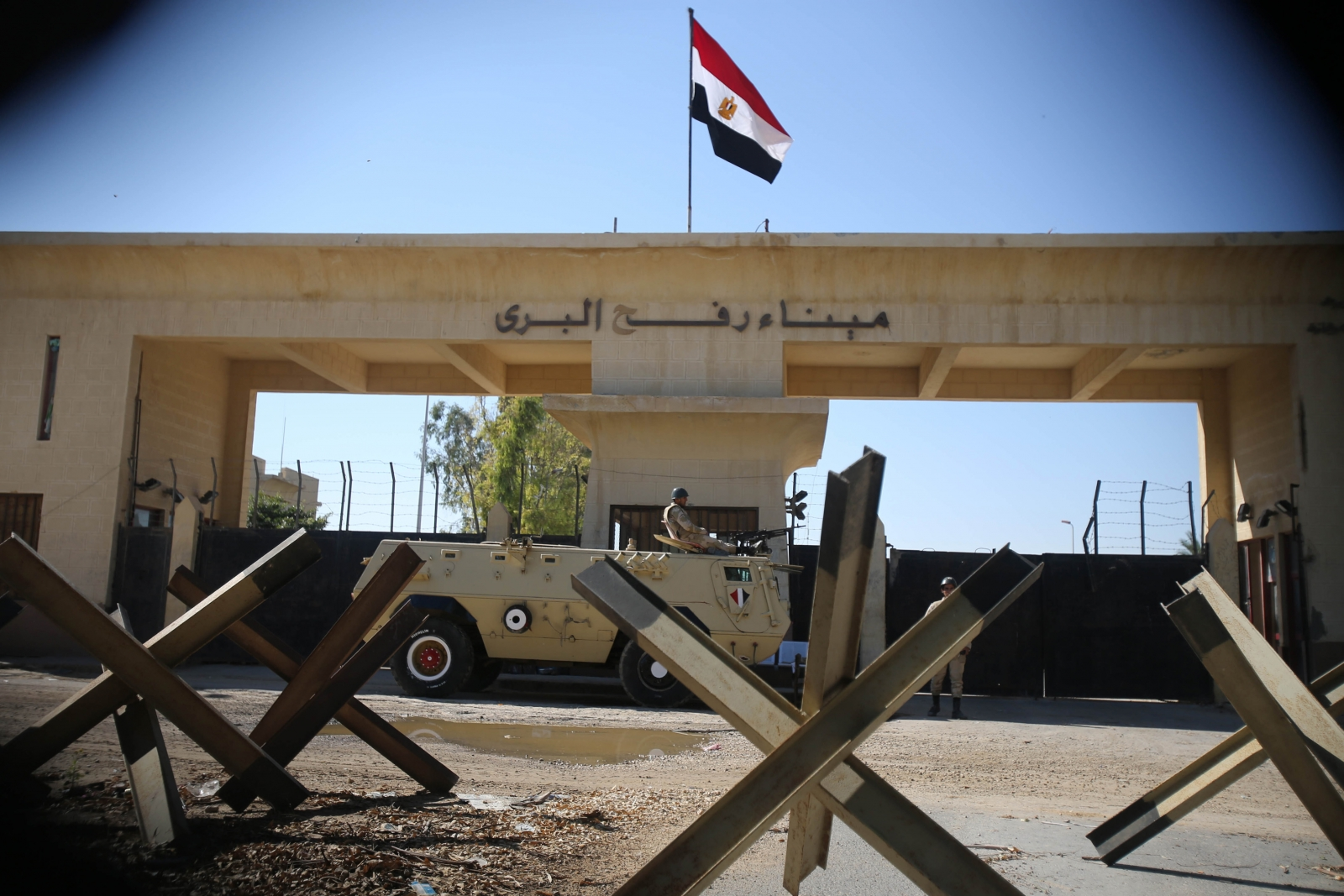 Egyptian soldier keeps watch at the closed Rafah border crossing