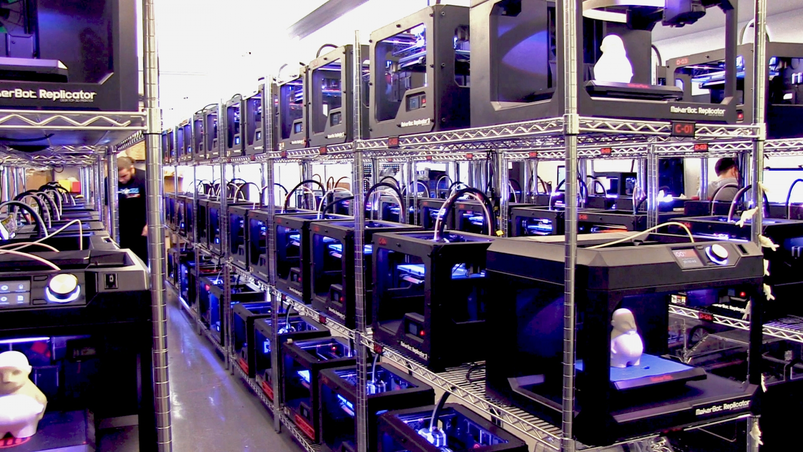A 3D printer enthusiast's dream: A sea of MakerBot 3D printers working away at the Innovation Center