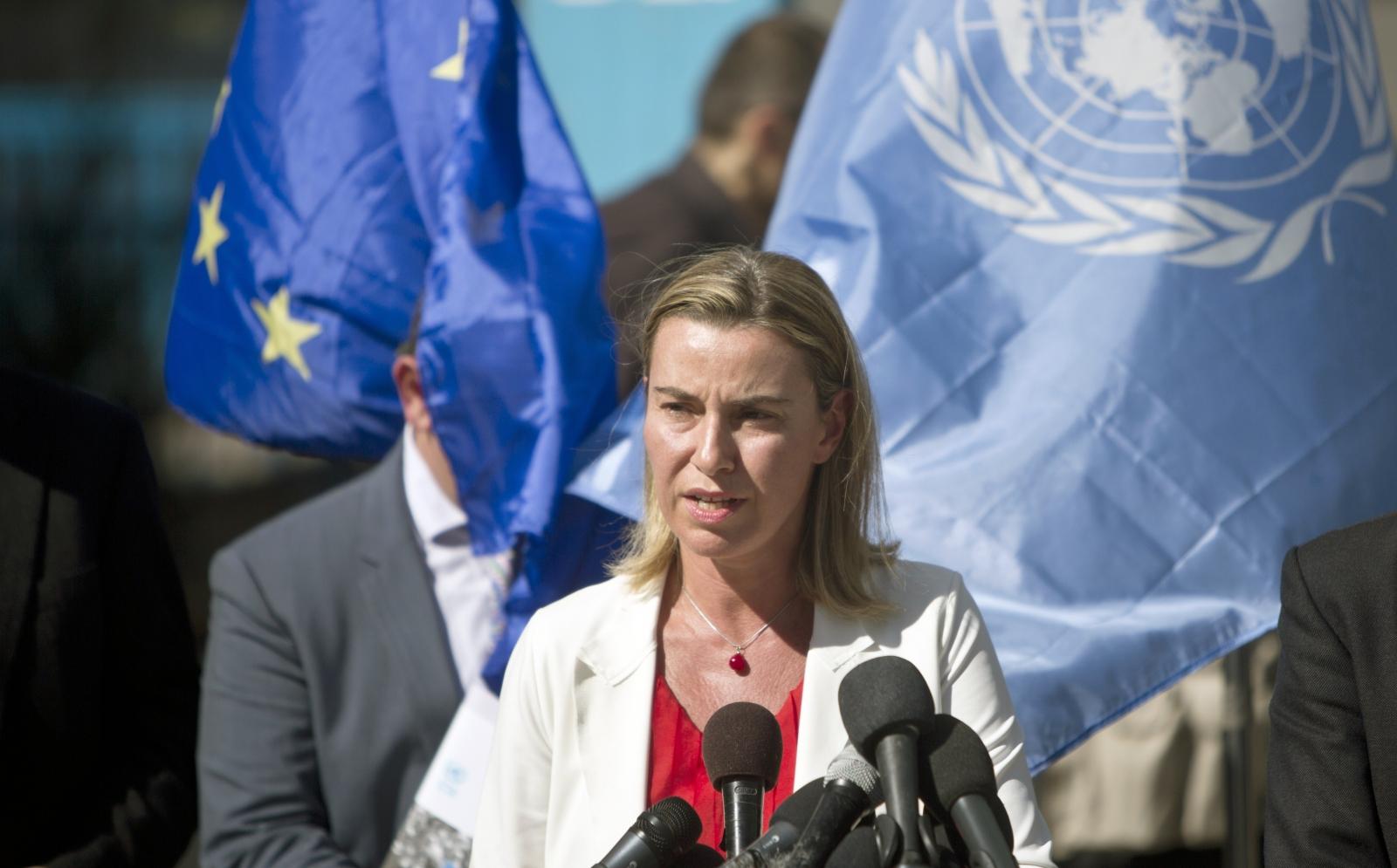 Federica Mogherini addresses reporters in Gaza today (Mahmud Hams/AFP)