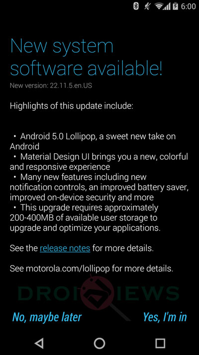 Moto X 2014 XT1095 Receives Android 5.0 Lollipop OTA Update, Borrows Ambient Display from Nexus 6