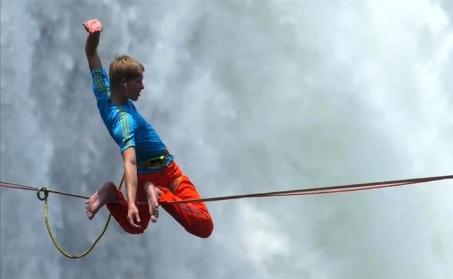 Lukas Irmler tightrope walk across Victoria Falls