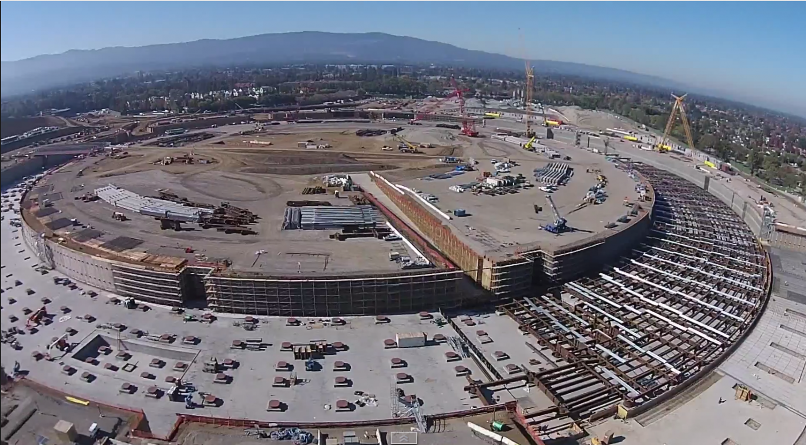 campus  drone footage shows size scale apples spaceship headquarters