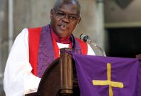 John Sentamu, the Archbishop of York address worshipers at the All Saints Cathedral in Nairobi,