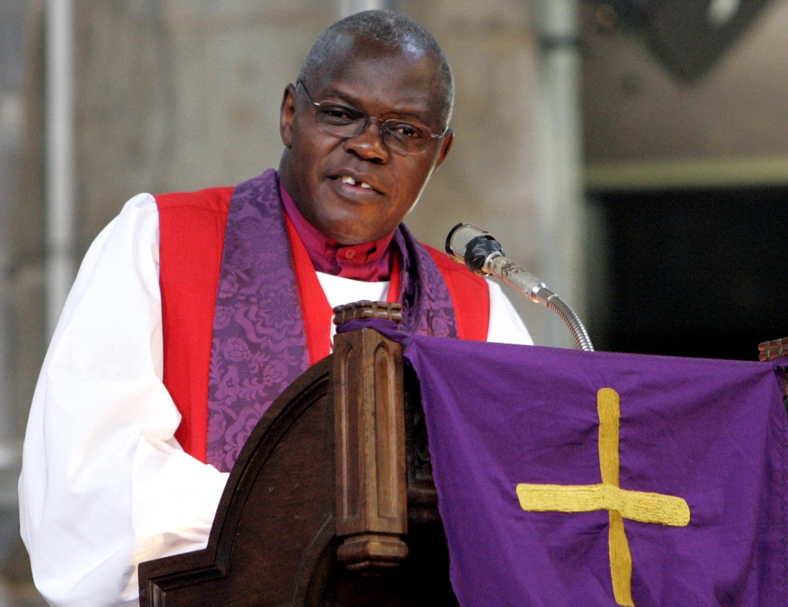 John Sentamu, the Archbishop of York address worshipers at the All Saints Cathedral in Nairobi,