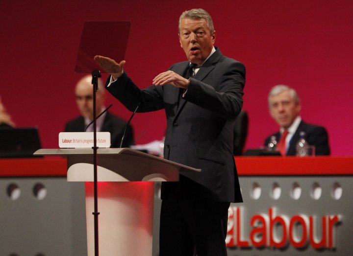 Former home secretary Alan Johnson speaks during the Labour Party conference in Manchester