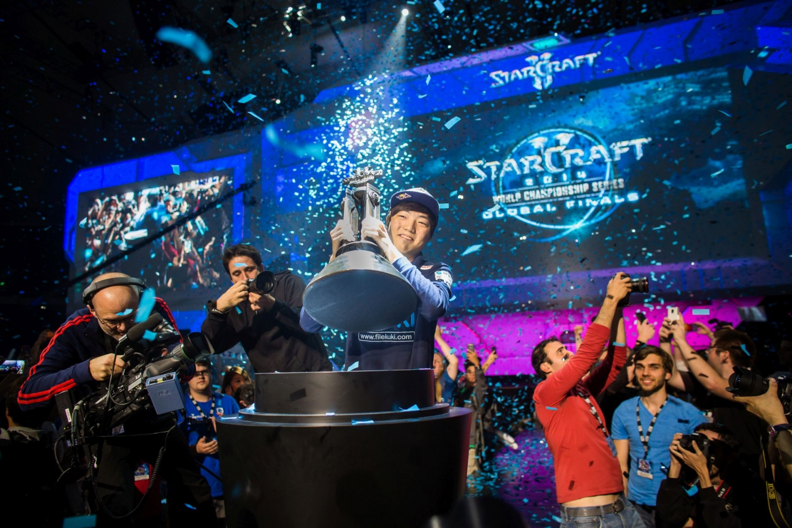 Starcraft 2 World Championship Series 2014 champion Lee 'Life' Seung Hyun celebrates his victory