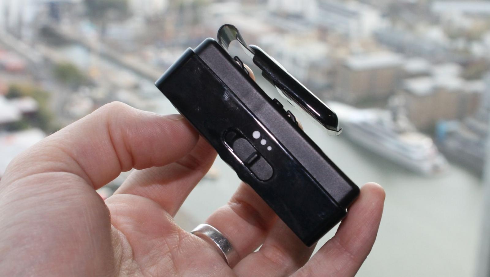 Woojer belt clip side view