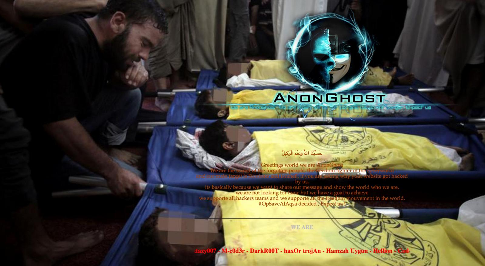 anonghost hackers deface un website following al-asqa mosque tensions